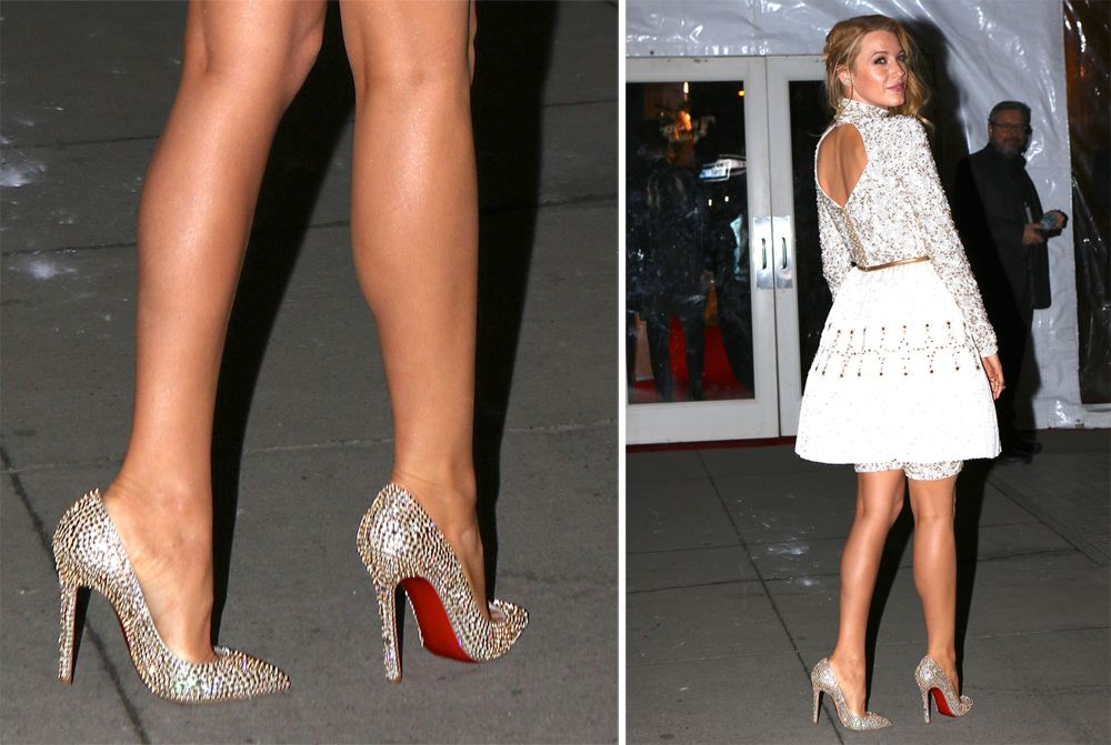 blake lively wearing christian louboutin red bottom shoes