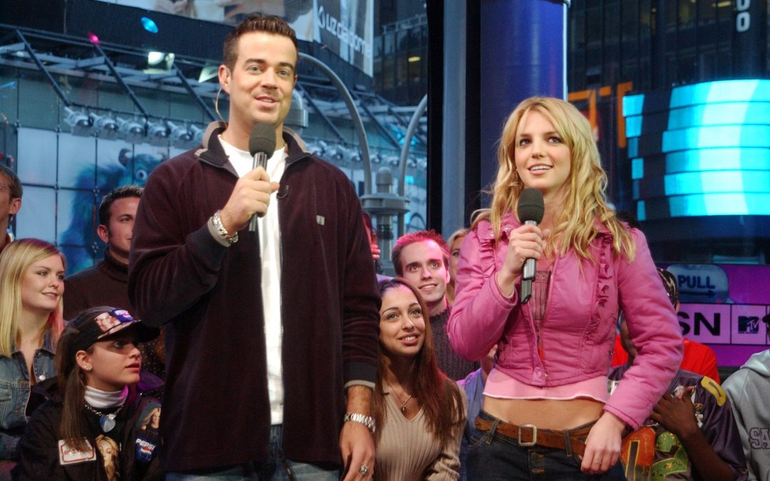 Carson Daly and Britney Spears hosting TRL