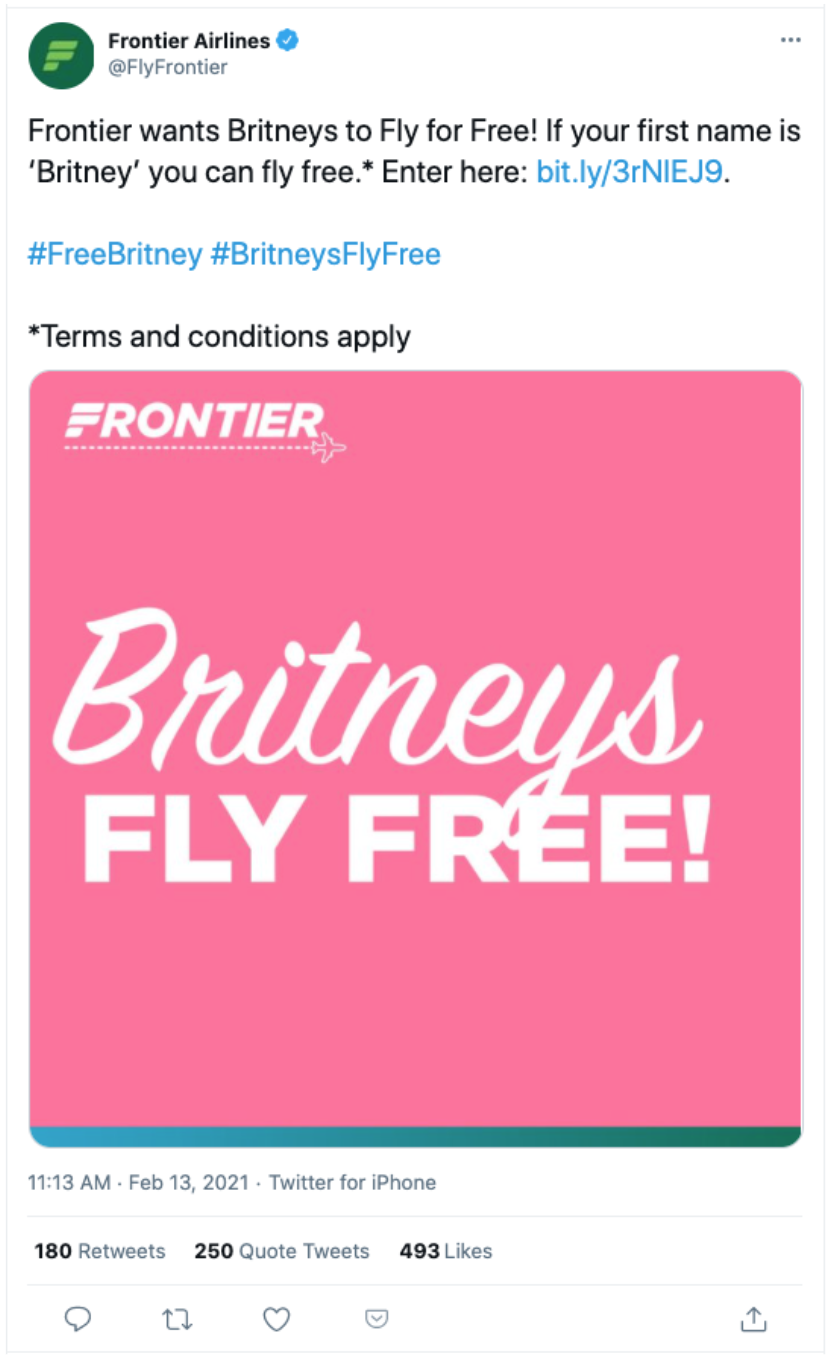 Frontier Airlines developed a tone-deaf promotion where anyone named Britney flies free