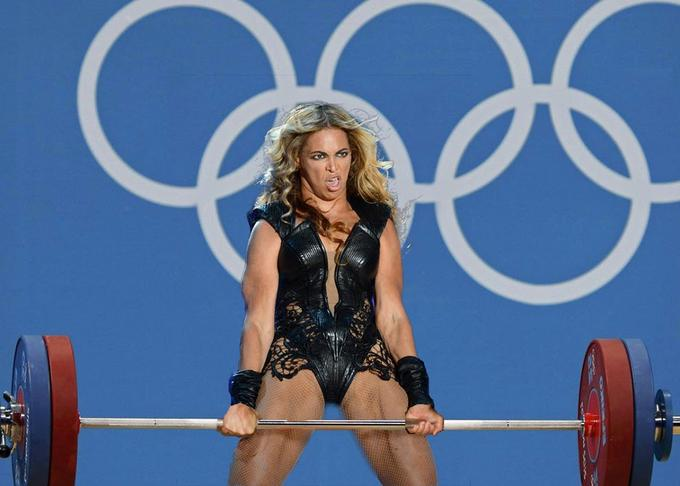 Beyonce meme showing her lifting weights with an unflattering expression